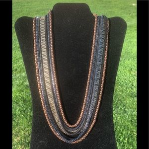 Multi layer bronze,black, gold necklace
